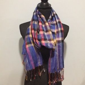 Accessories - Versatile Multi-colored Plaid Scarf with Fringe